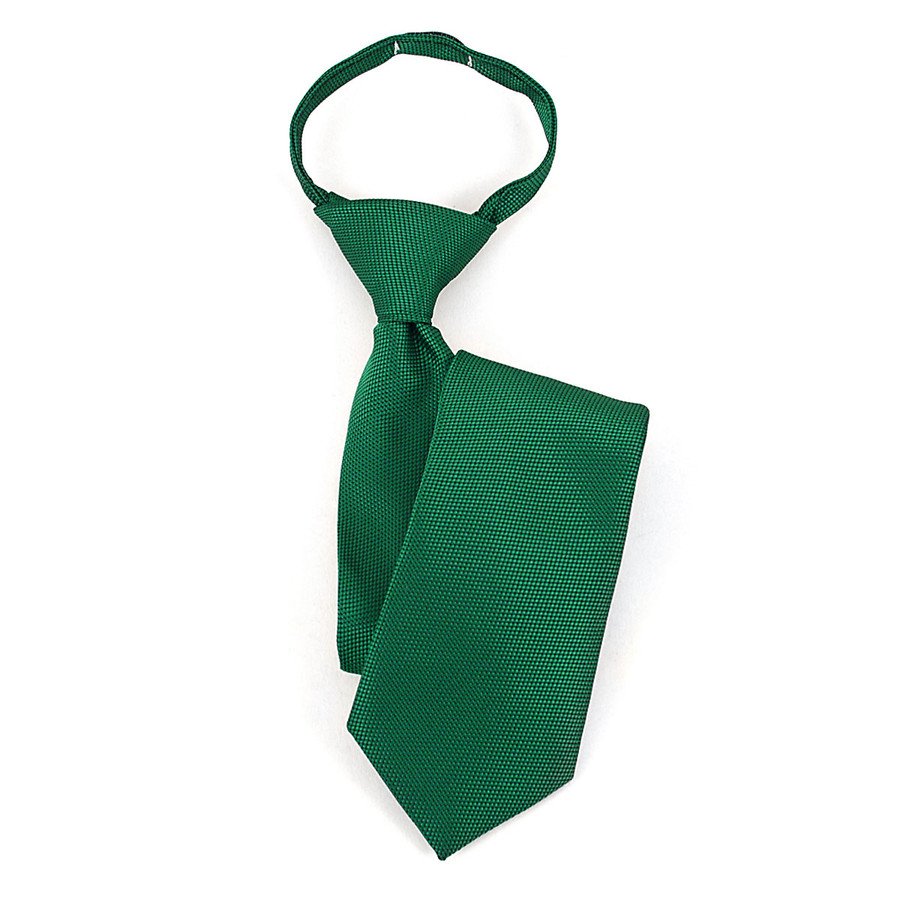 Boy's Green & Black Geometric/Polka Dot Zipper Tie