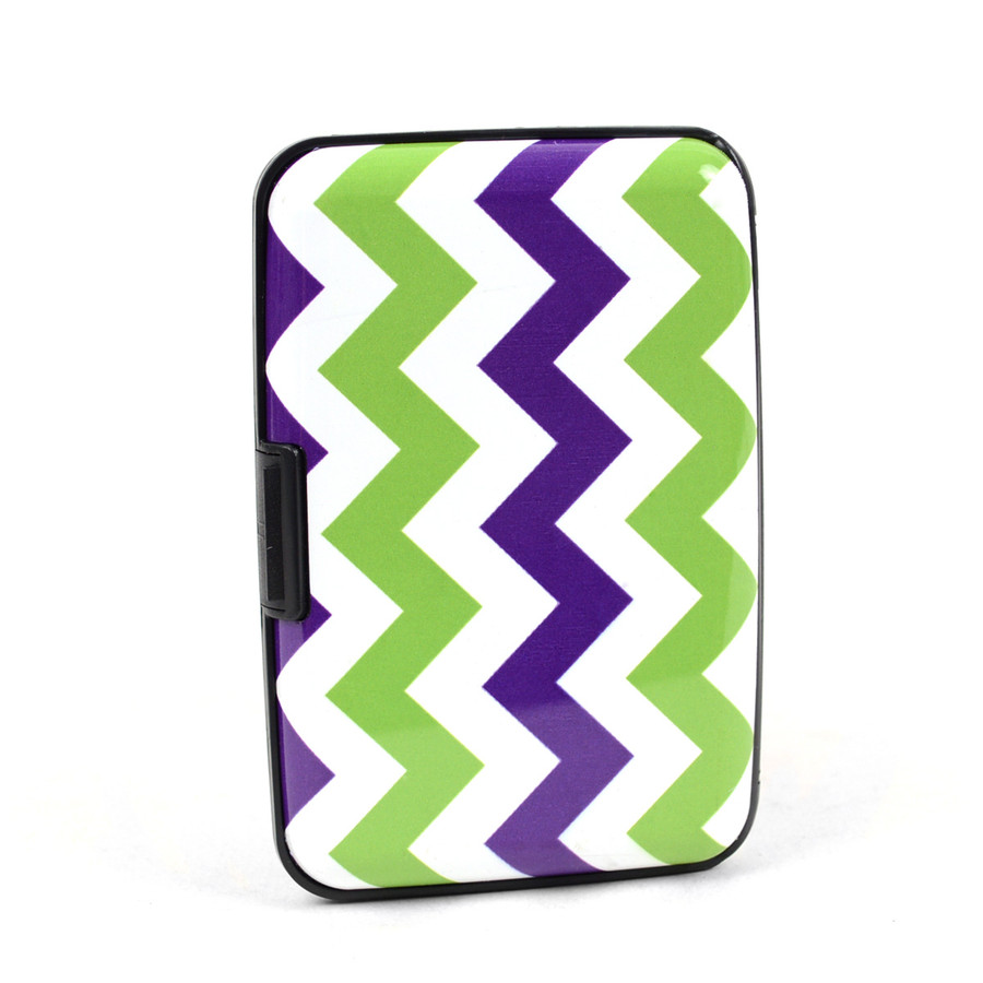 Card Guard Aluminum Compact Wallet Credit Card Holder with RFID Protection - Zigzag