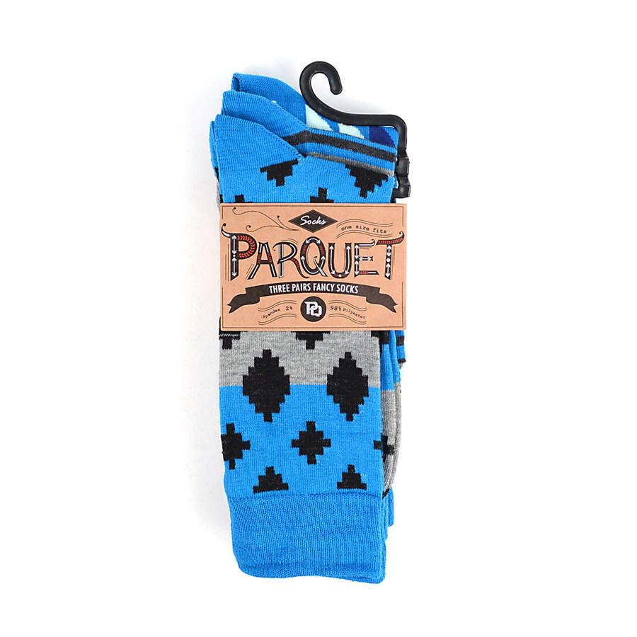 3pcs (3 Pairs) Men's Blue Casual Fancy Socks 3PKS/BJ