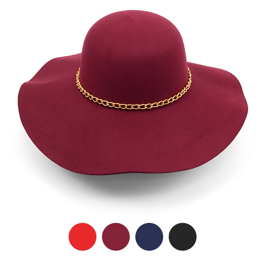 Women's Polyester Felt Wide Brim Floppy Hat with Gold Chain Band LWH10057GB