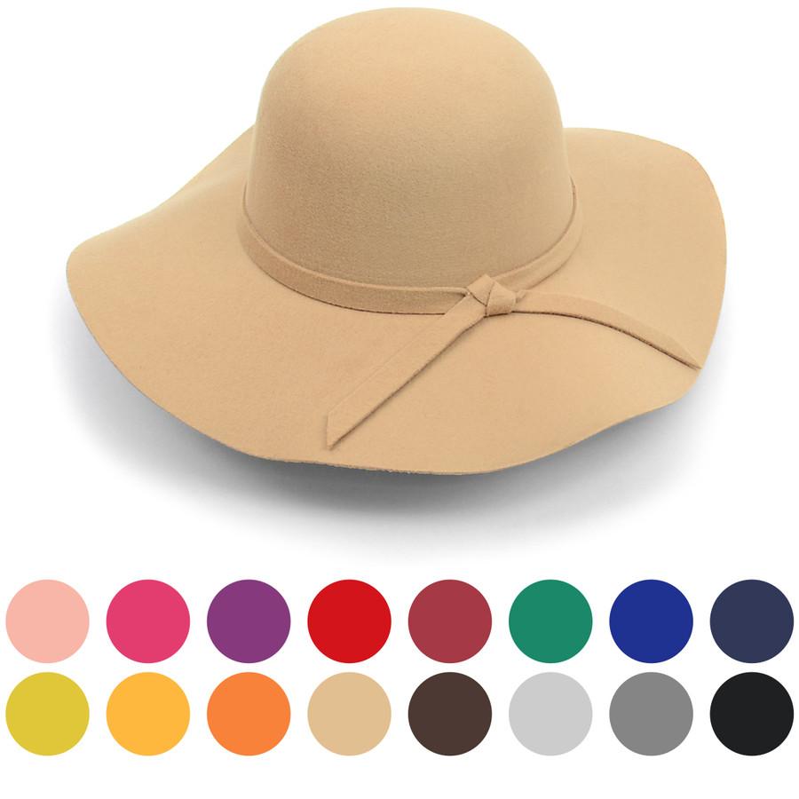 Women's Polyester Felt Floppy Wide Brim Bowknot Hat