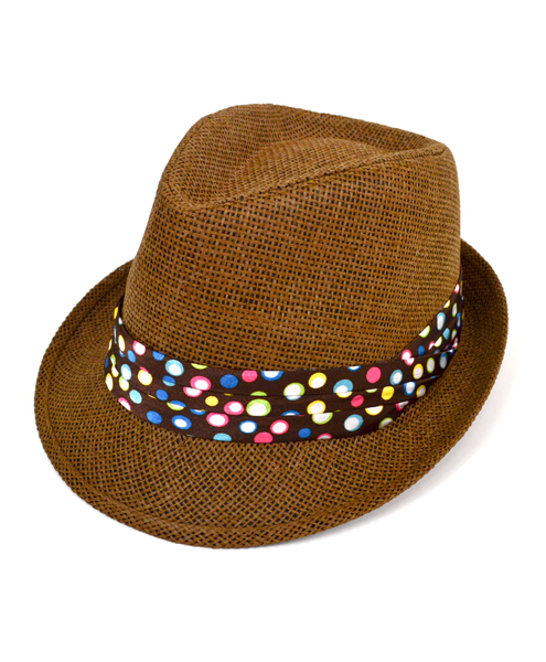b6b64eece21 6pc Women s Brown Paper Poly Polka Dots Band Fedora Hats by Westend