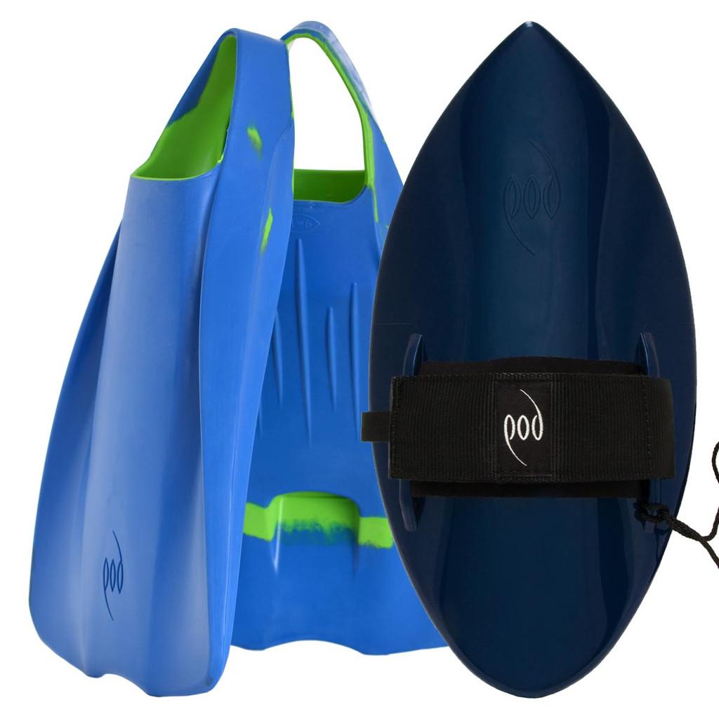 POD Fins PF1s Blue/Lime - Black/Blue POD Handboard