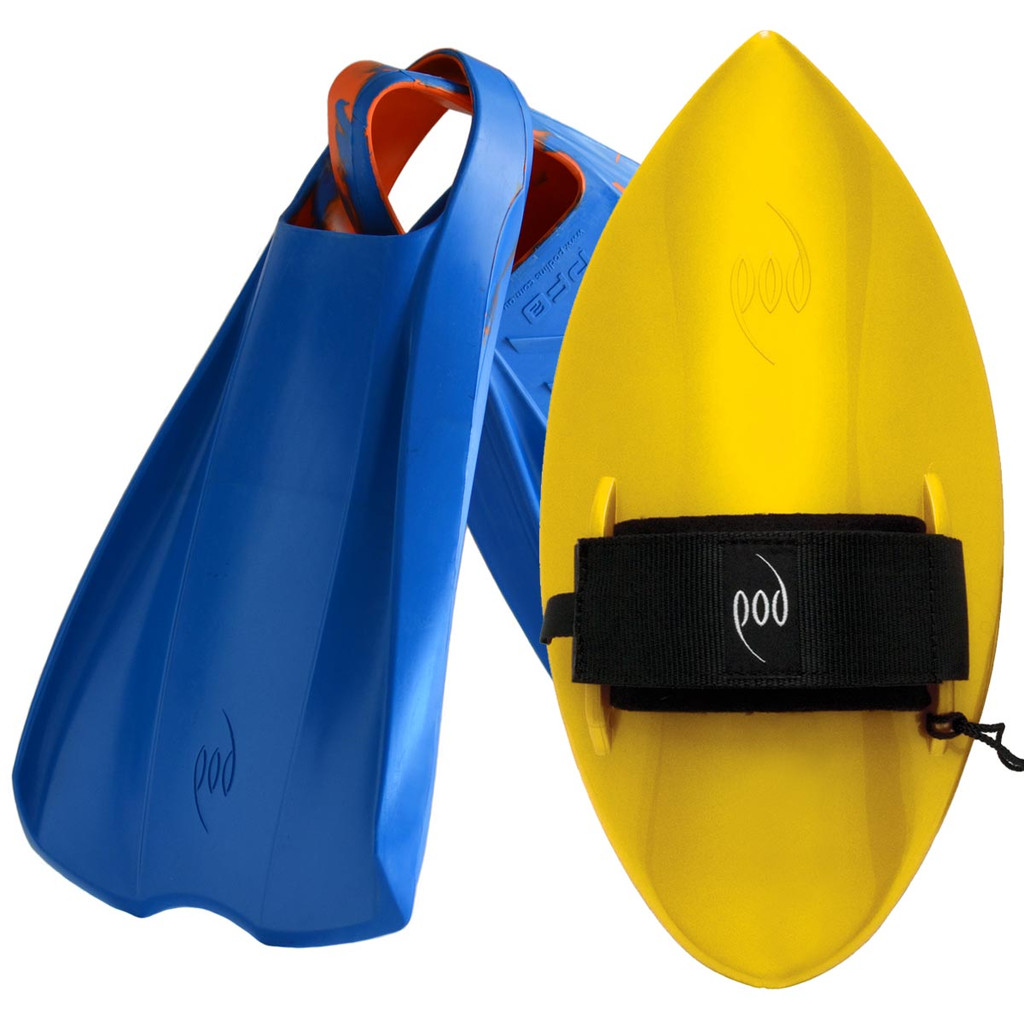 POD Fins PF2s Blue/Orange - Yellow POD Handboard