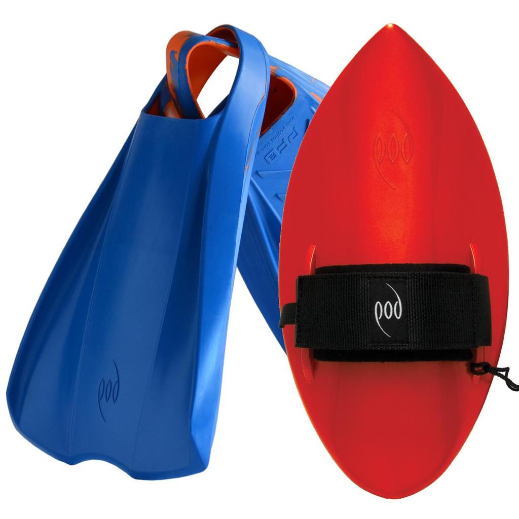 POD Fins PF2s Blue/Orange - Red POD Handboard