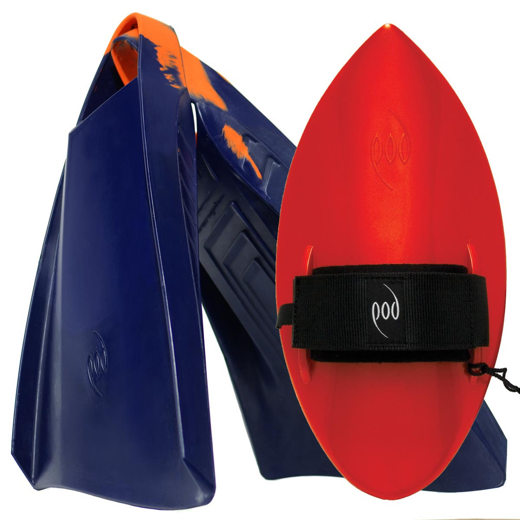 POD Fins PF3s Navy/Orange - Red POD Handboard