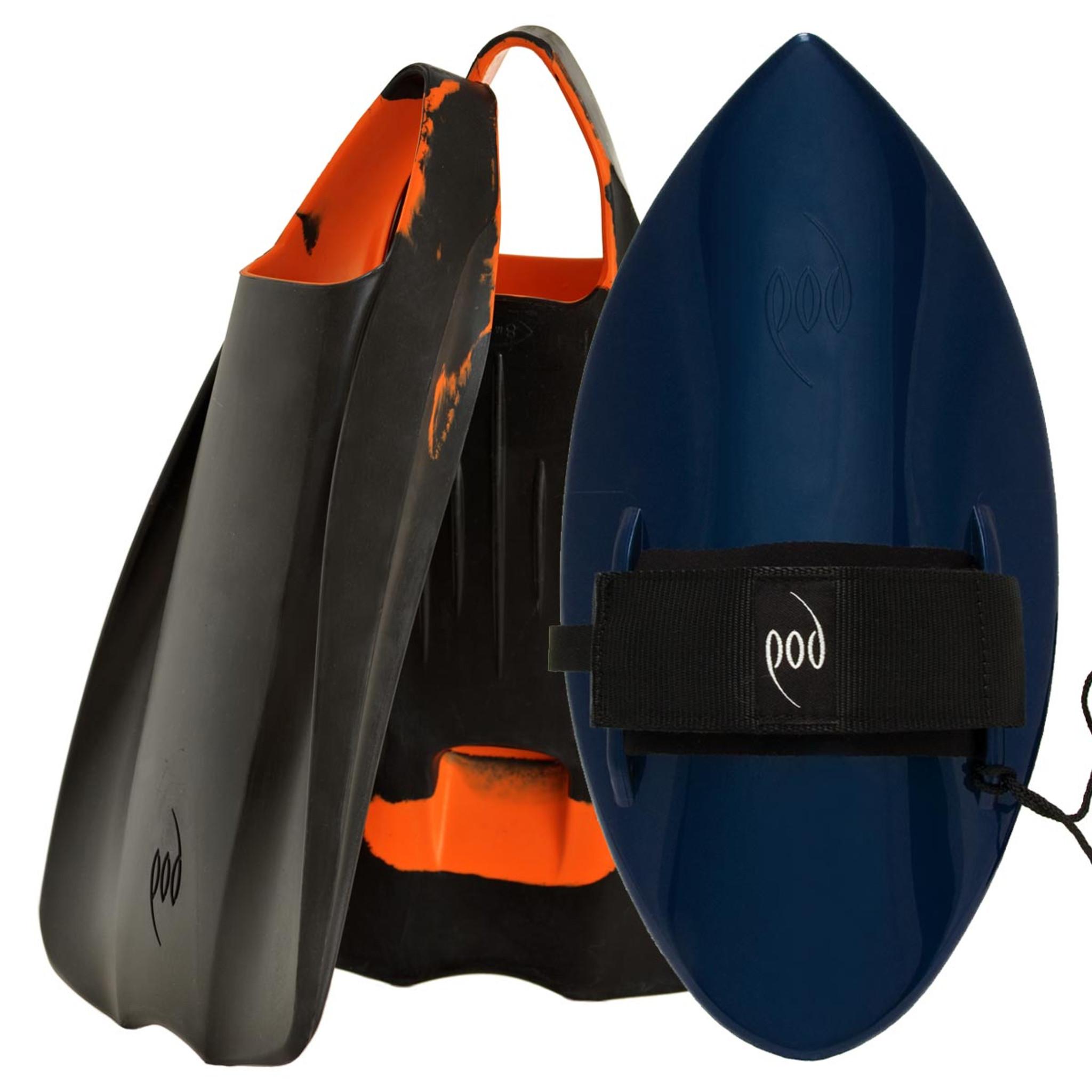 POD Fins PF1s Black/Orange - Black/Blue POD Handboard