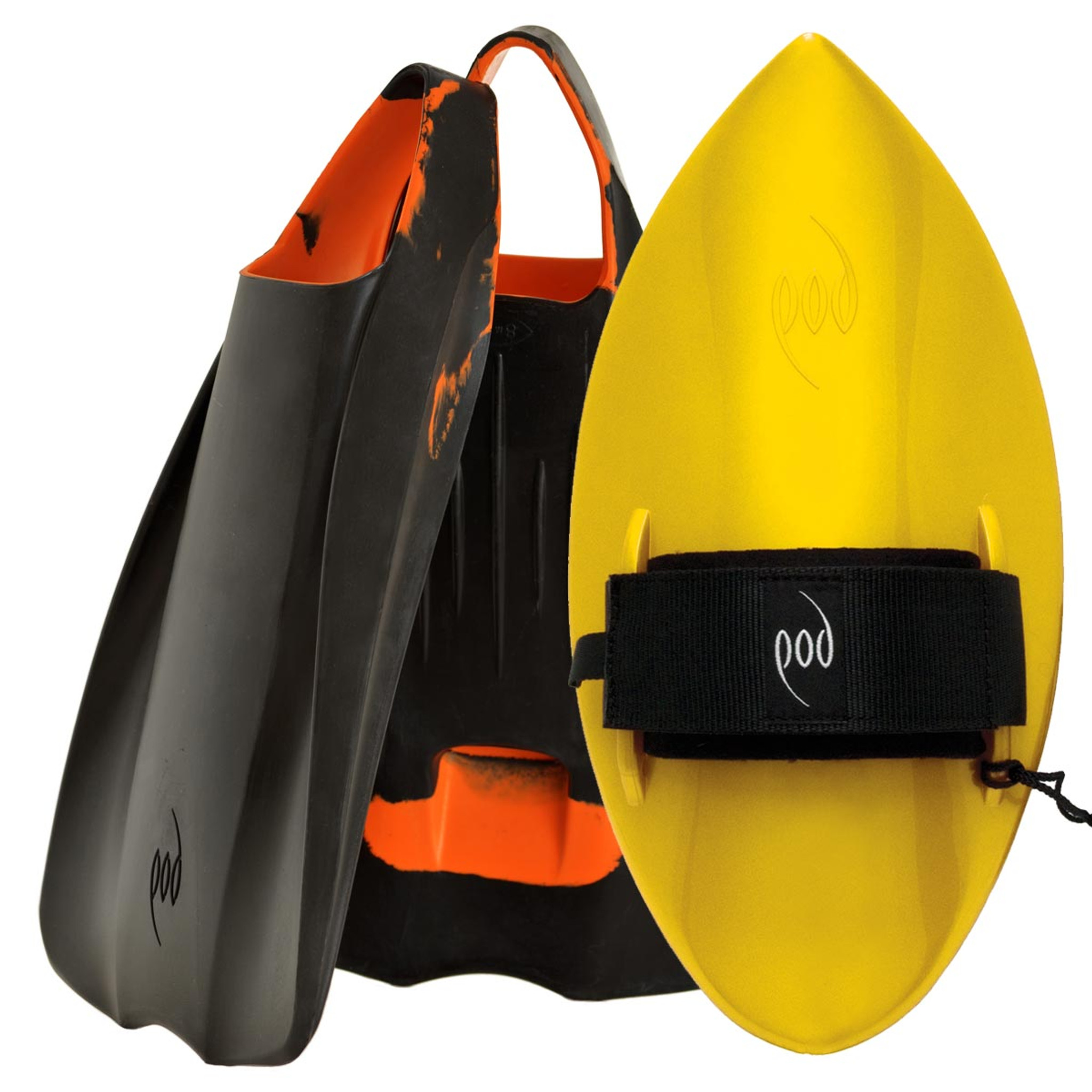 POD Fins PF1s Black/Orange - Yellow POD Handboard