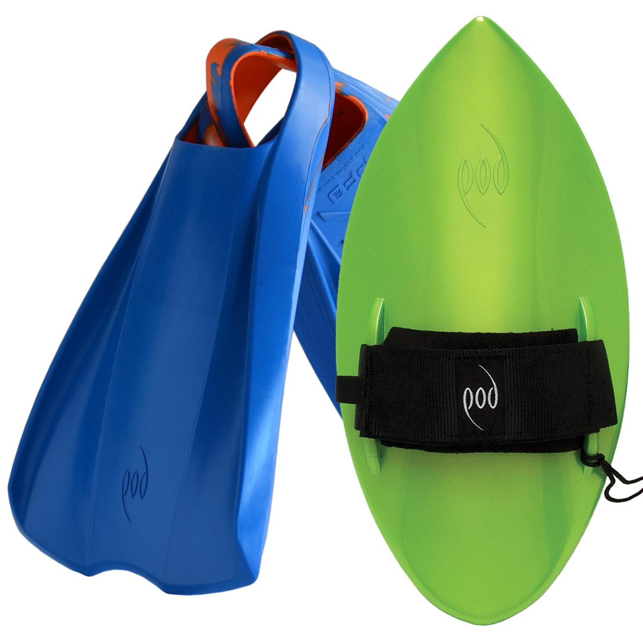 POD Fins PF2s Blue/Orange - Lime POD Handboard