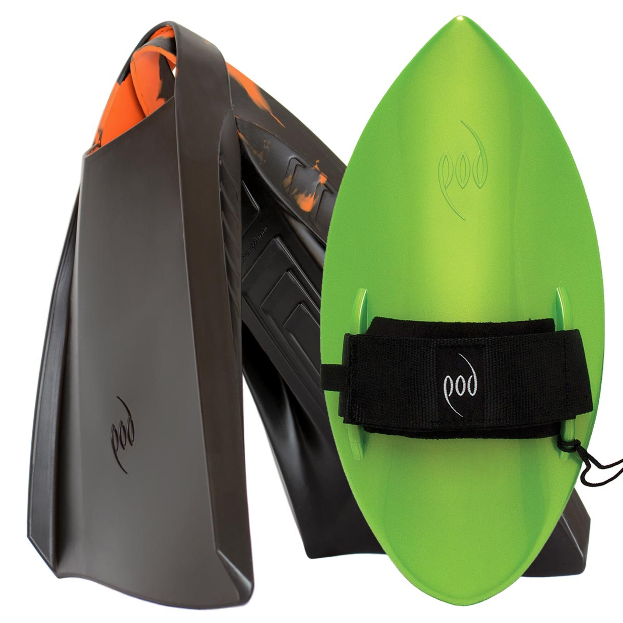 POD Fins PF3s Black/Orange - Lime POD Handboard