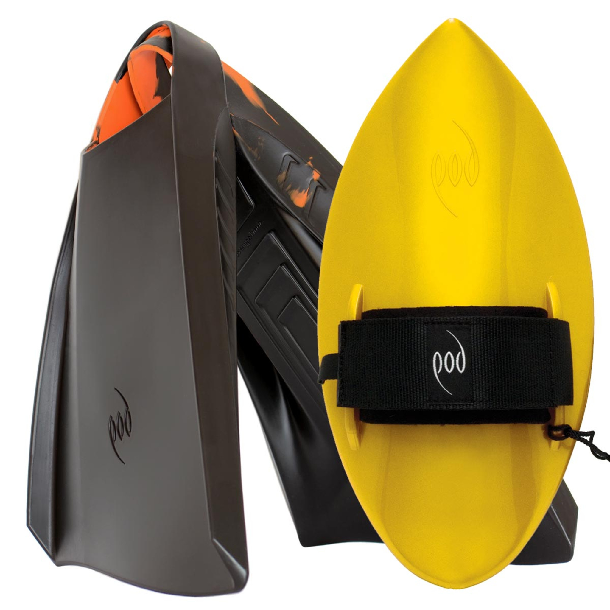 POD Fins PF3s Black/Orange - Yellow POD Handboard