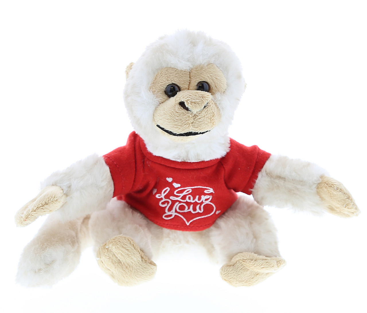 Dollibu White Squirrel Monkey Red I Love You Shirt Valentines Plush