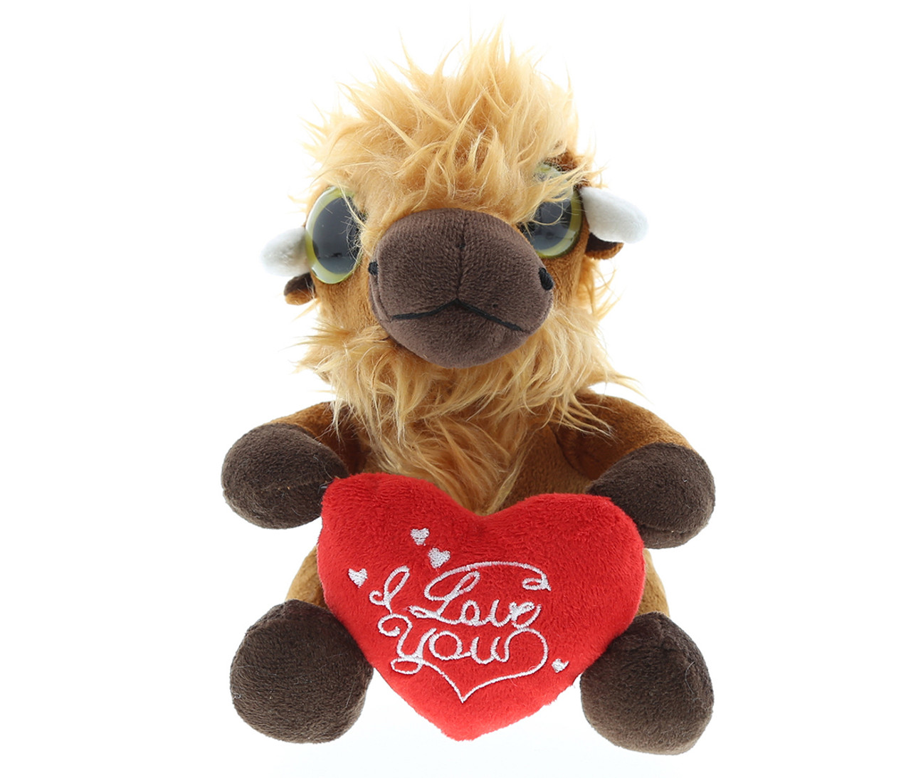 Dollibu Brown Buffalo Big Eye I Love You Valentines Plush Super Soft