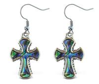Earrings - Dangle Post - Fish Hook - Natural Paua - Cross