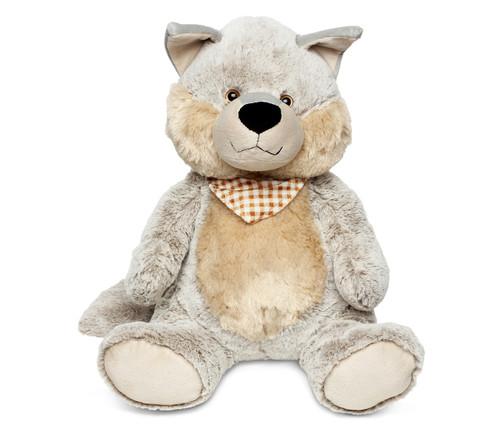 Super Soft Plush Sitting Grey Wolf Xl