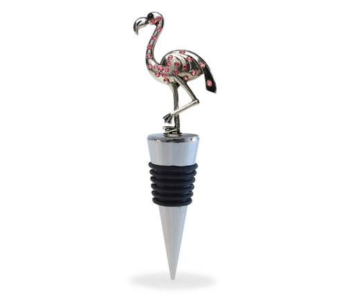 Cheers Wine Stopper Metal Flamingo