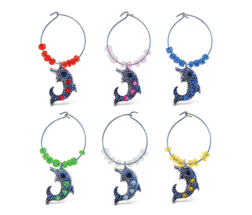 Cheers Wine Charms Metal Dolphin