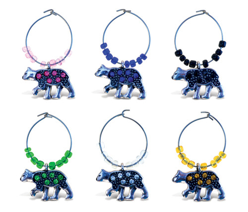 Cheers - Wine Charms 2 Metal Black Bear