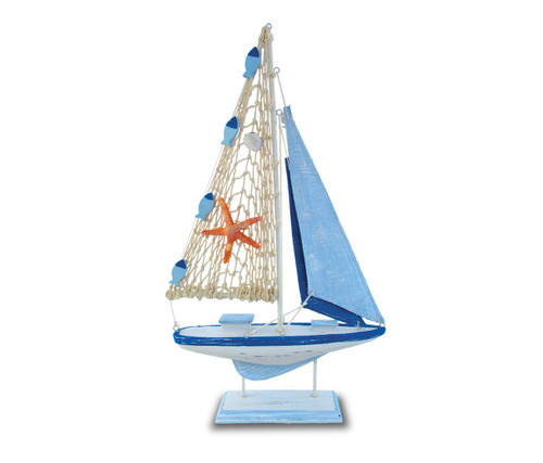 Nautical Decor Light Blue Stripes Boat Star Fish