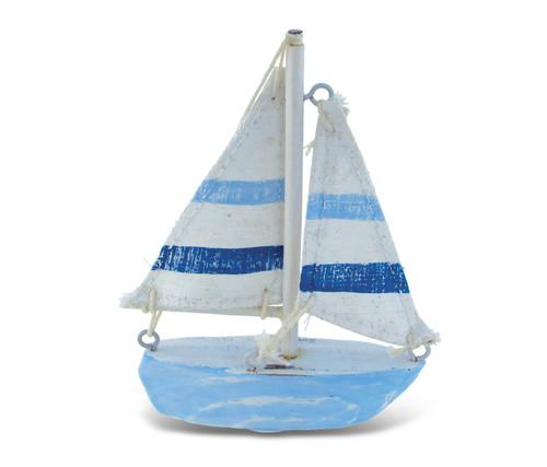 Nautical Decor - Light Blue Stripes Boat X-Small