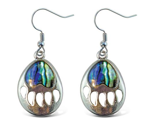 Earrings - Dangle Post - Fish Hook - Natural Paua - Bear Paw