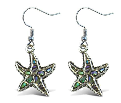 Earrings - Dangle Post - Fish Hook - Natural Paua - Starfish