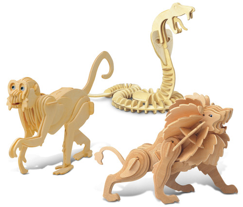 Snake, Monkey and Lion Wooden 3D Puzzle Construction Kit