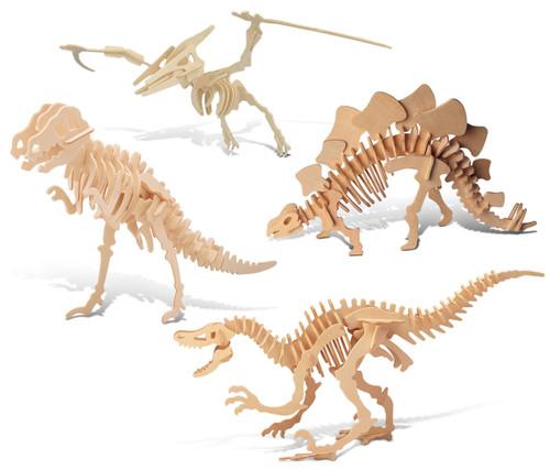 Tyrannosaurus, Pteranodon, Velociraptor, Stegosaurus Wooden 3D Puzzle Construction Kit