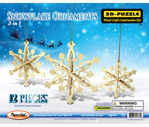 3D Wooden Puzzles Snowflake Ornaments