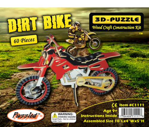 Colorful Wood Craft Construction Dirt Bike 3D Jigsaw Puzzle