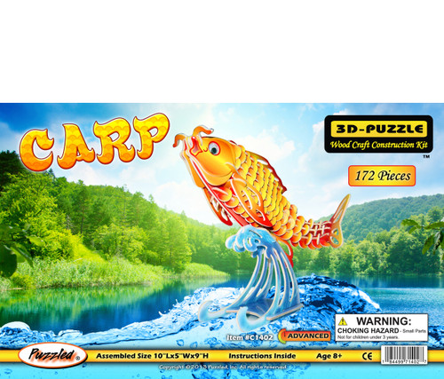 Carp Pre-Colored Wooden 3D Puzzle Construction Kit