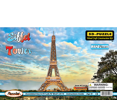 Eiffel Tower Pre-Colored Wooden 3D Puzzle Construction Kit