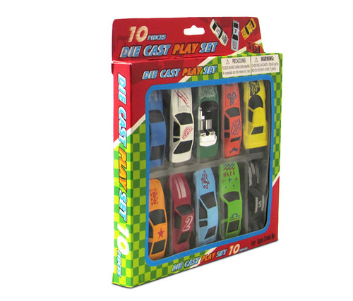 Vehicle Car Collection Set of 10 with a Green Convertible