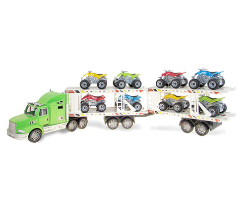 Vehicle Green Trailer Truck with ATVs