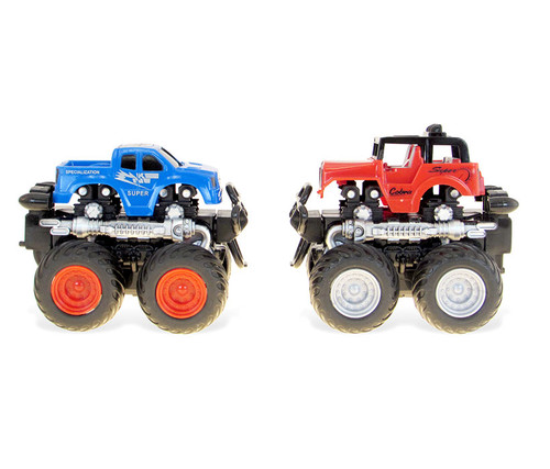 Vehicle Blue and Red Four Wheeler with 360 Turn Function