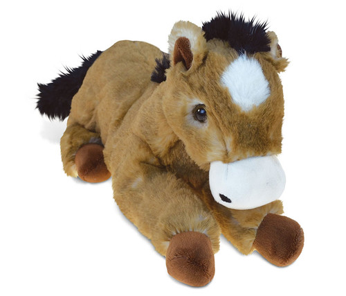 Super Soft Plush Lying Brown Horse
