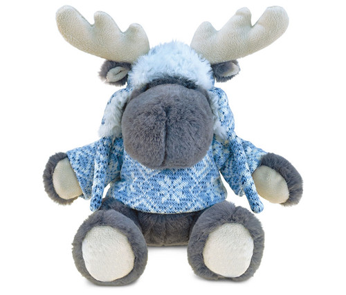 Super Soft Plush With Clothes  Grey Moose