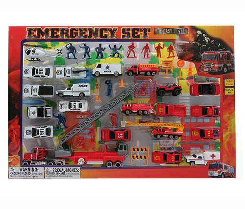 Diecast Police and Rescue Emergency Crew With Play Mat, 46 Pcs Toy Playset