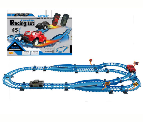 Competition Racing With 2 Cars, 45 Pcs Toy Playset