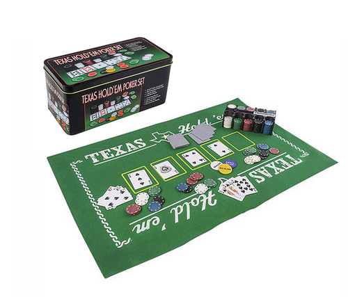 Texas Holdem Poker Casino Theme with Play Mat  Sport Gaming Set