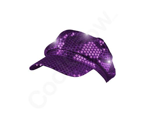 Purple LED Sequin Newsboy Hat Pretend Play Costume