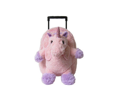 Children's Pink Unicorn Plush Roller Backpack Kid's Luggage