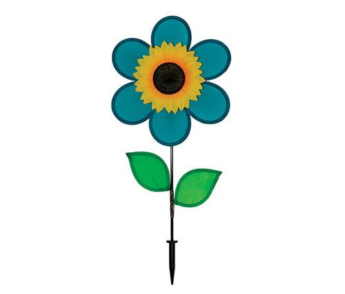 Teal Sunflower Wind Spinner Garden Spinner