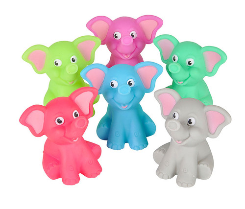Colorful 2-inch Rubber Elephants 12 Pack  Rubber Elephants