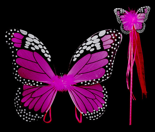 Fuchsia Monarch Children Butterfly Wings and Wand 2pc Set Costume Accessory