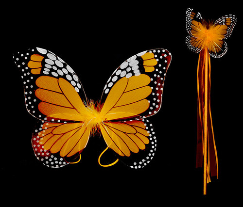 Orange Monarch Children Butterfly Wings and Wand 2pc Set Costume Accessory