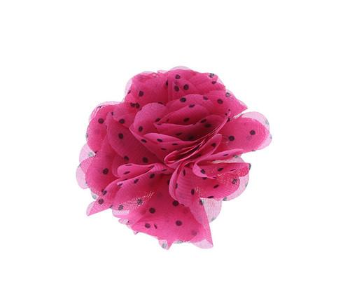 Fuchsia Polka Dot Chiffon Flower Hair Clip Hair Accessory