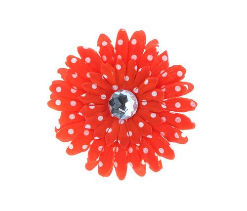 Orange Polka Dot Rhinestone Daisy Flower Hairclip Hair Accessory