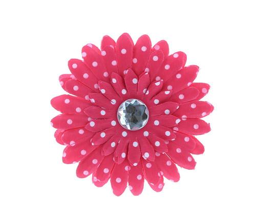Hot Pink Polka Dot Rhinestone Daisy Flower Hairclip Hair Accessory