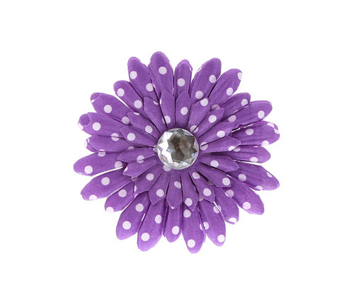 Purple Polka Dot Rhinestone Daisy Flower Hairclip Hair Accessory